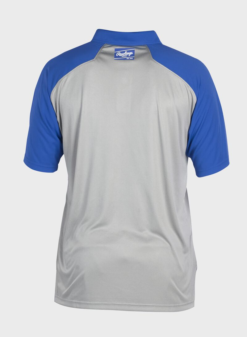 Back of a gray ColorSync polo with royal sleeves and royal Rawlings patch on the back neckline - SKU: CSP-BG/R