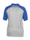 Back of a gray ColorSync polo with royal sleeves and royal Rawlings patch on the back neckline - SKU: CSP-BG/R image number null