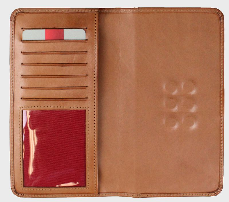 Inside of a tan universal magnetic phone case with card slots and ID window on the left - SKU: RO90006-204