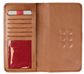 Inside of a tan universal magnetic phone case with card slots and ID window on the left - SKU: RO90006-204 image number null