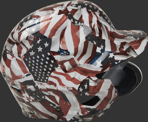 Right side of a MACHEXTR-USA Rawlings Mach EXT USA helmet with a unique hydro dipped design