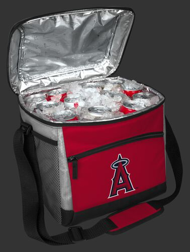 An open Los Angeles Angels 24 can cooler filled with ice and drinks - SKU: 10200001111