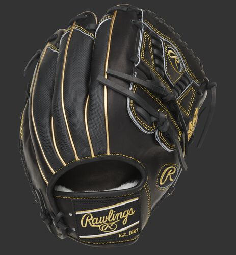 Black Speed Shell back of a Pro Preferred infield/pitcher's glove with a black Rawlings patch - SKU: PROS205-30BG