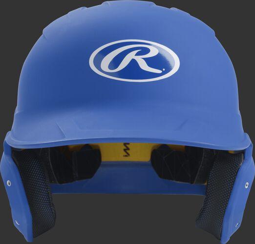 Front of a matte royal MACH senior size batting helmet