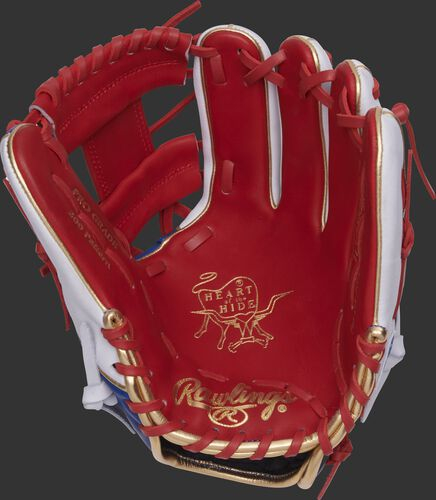 PRO204W-2SRW Rawlings HOH infield glove with a scarlet palm, web and laces