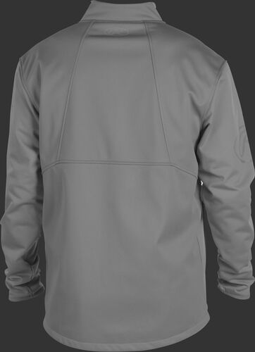 Back of a gray Rawlings mid weight Gold Collection jacket - SKU: GCMW2-BG