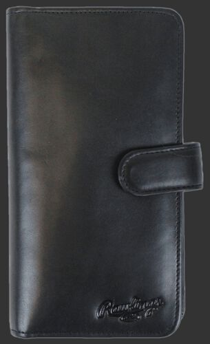 Rawlings Black Universal Magnetic Leather Phone Wallet With Brand Name and Strap SKU #RO90000-001