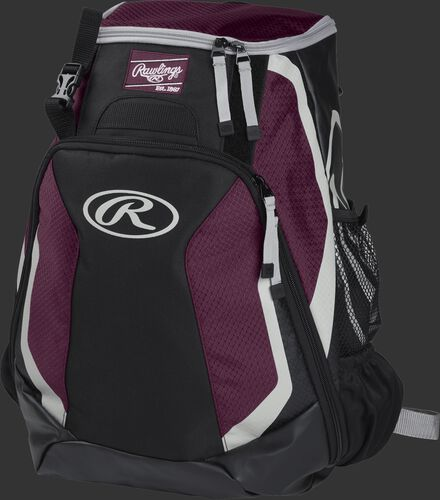 Left side of a black/maroon R500 Players team backpack with white trim