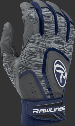 A grey 5150GBG-N Adult 5150 batting glove with a heather grey back and navy trim
