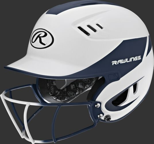 A white/navy R16H2FGS Velo junior batting helmet with a white/navy facemask