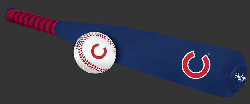 Side of Rawlings Chicago Cubs Foam Bat and Ball Set in Team Colors With Team Name and Logo On Front SKU #01860008111