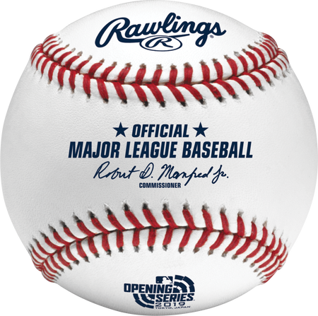 Front view of a ROMLBOS19 Official 2019 MLB Japan Series ball with the event logo and commissioner's signature