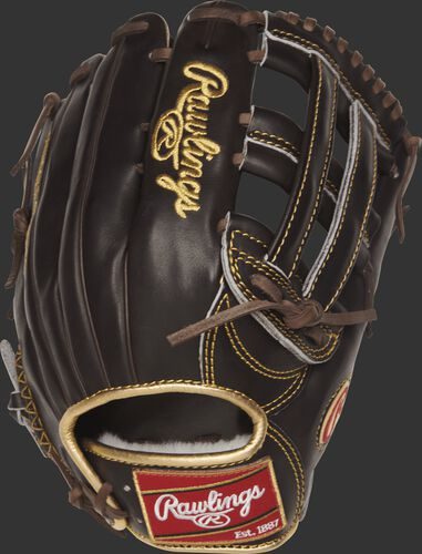 RGG3039-6MO 12.75-inch Gold Glove series outfield glove with a mocha back and gold binding