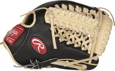 Thumb view of a Rawlings PROR205-4BC Heart of the Hide R2G infield/pitcher's glove with a camel modified-trapeze web