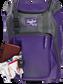 Wallet, keys, and batting gloves in the front valuables pocket of a purple Franchise baseball bag - SKU: FRANBP-PU image number null