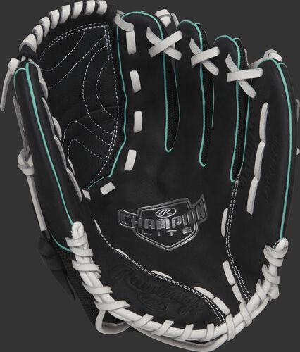 CL110BMT Rawlings 11-inch youth softball glove with a black palm and white laces