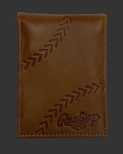 A tan debossed stitch front pocket wallet with a baseball stitch design and Rawlings logo in the bottom right - SKU: PRW009-204