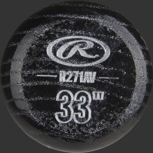 Black knob of a R271AV Rawlings Velo ash bat