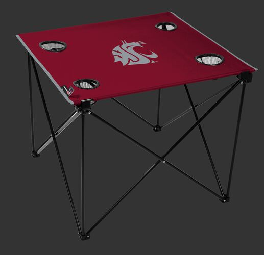 A red NCAA Washington State Cougars deluxe tailgate table with four cup holders and team logo printed in the middle SKU #00713113111