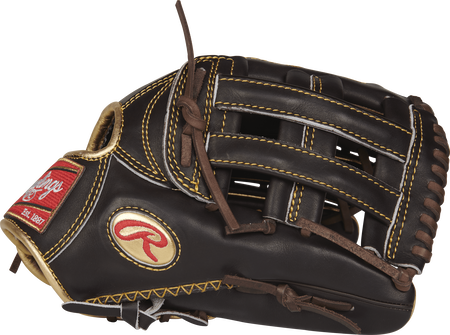 Thumb view of a mocha RGG3039-6MO Gold Glove 12.75-inch outfield glove with a mocha H web and gold Oval R logo
