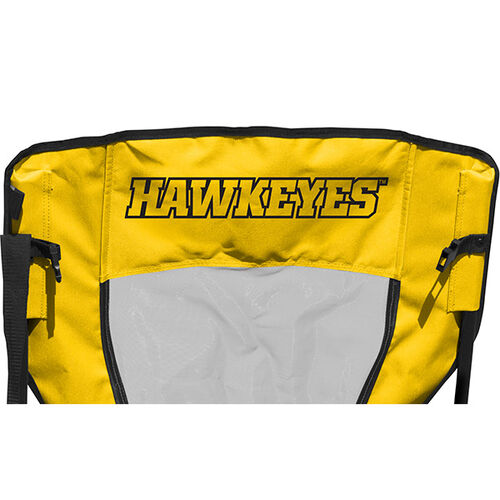 Back of Rawlings Yellow and Black NCAA Iowa Hawkeyes High Back Chair With Team Name SKU #09403075518