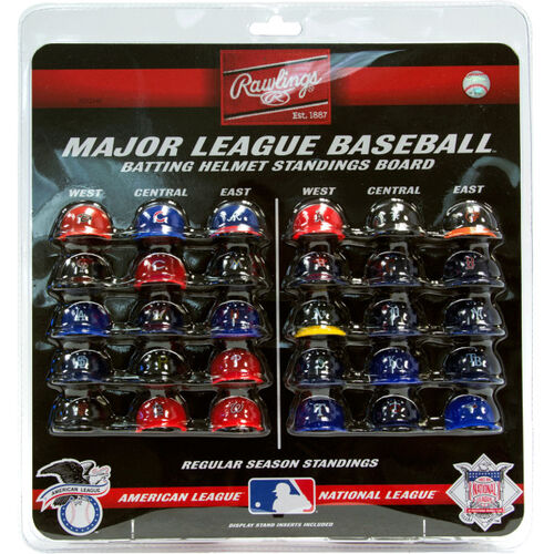 Rawlings MLB Mini Helmet Standings Board With All 30 Teams Helmets And Team Colors SKU #01930040120