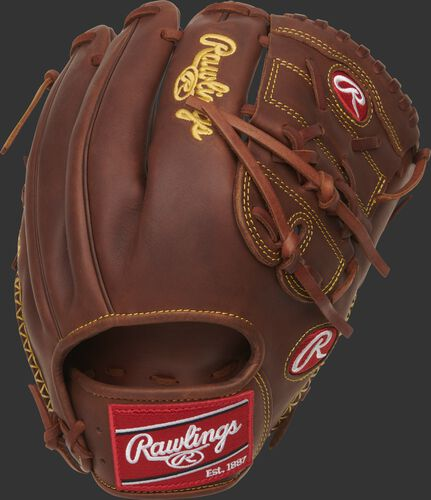 Back of a timberglaze Heart of the Hide 2-piece solid web infield/pitcher's glove - SKU: PRO205-9TI