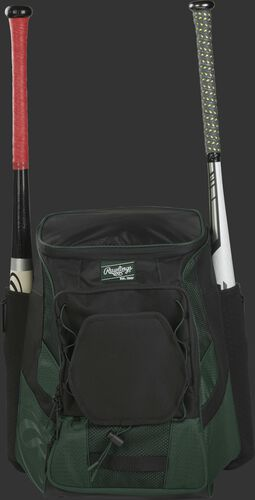 Front of a dark green/black R600 Rawlings players team backpack with a bat in each of the side compartments