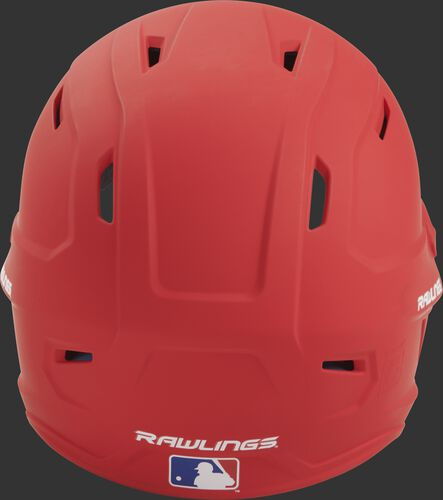 Back of a scarlet MACH high performance senior helmet with the Official Batting Helmet of MLB logo