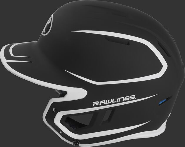 MACH Junior Rawlings batting helmet with a two-tone matte black/white shell
