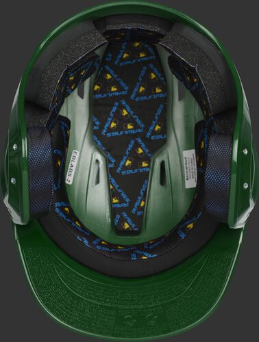 Inside of a dark green MCH01A Mach baseball helmet with black foam padding