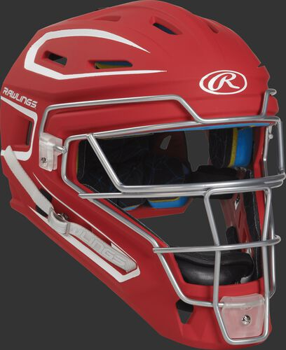 Front right of a scarlet CHMCHS Rawlings Mach catcher's helmet