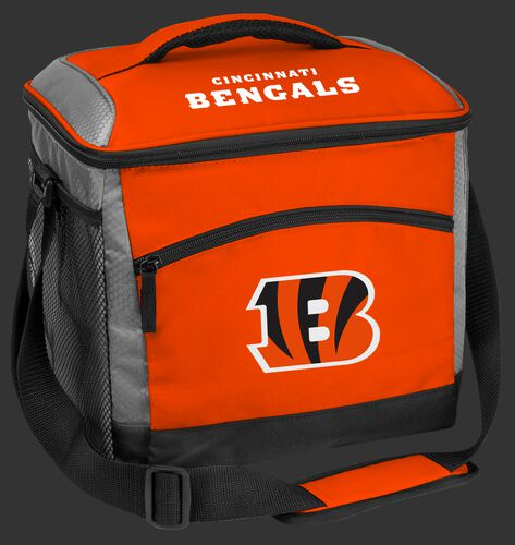 An orange Cincinnati Bengals 24 can soft sided cooler with screen printed team logos - SKU: 102110631111