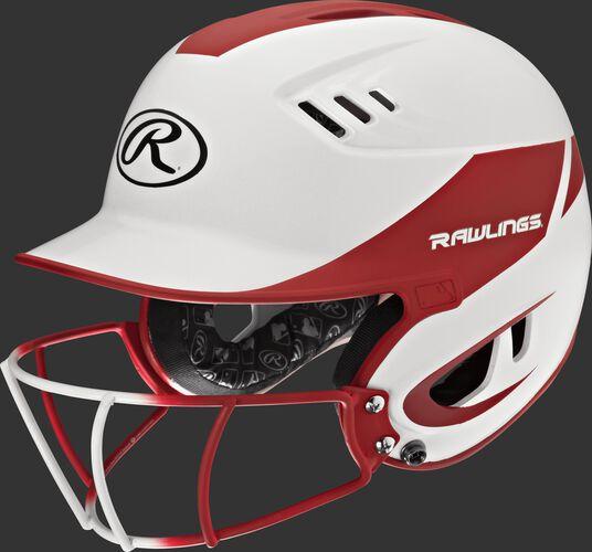 A white/scarlet R16H2FGS Velo senior batting helmet with a white/scarlet facemask