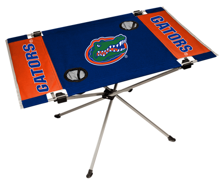 NCAA Florida Gators Endzone tailgate table in team colors with a team logo in the middle and two cup holders