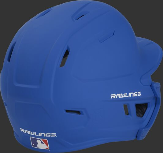 Back right of a matte royal MACHEXTL Rawlings senior size batting helmet