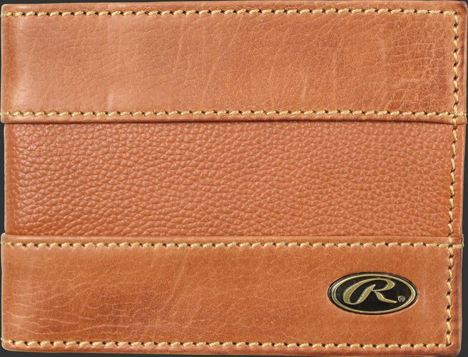 A tan RW80004-204 Bases Loaded bi-fold wallet folded close with a gold Oval R logo in the bottom right