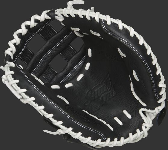 RSOCM325BW Rawlings Shut Out catcher's mitt with a black palm and white laces