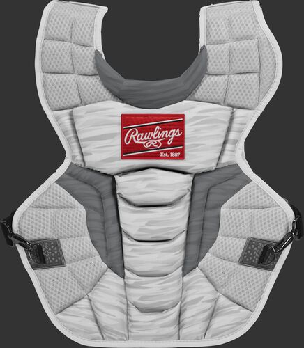 A white CPV2N Rawlings Velo 2.0 adult chest protector with a striped pattern
