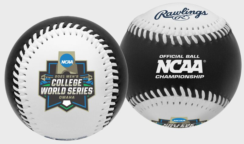 A 2021 NCAA College World Series black replica baseball with a CWS logo on the white side - SKU: 35393012530