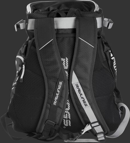 Back of a black VELOBK Rawlings Velo backpack with black shoulder straps