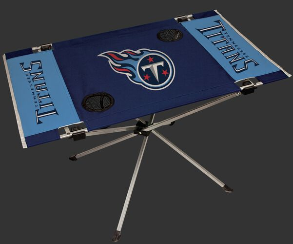 Rawlings Navy and Blue NFL Tennessee Titans Endzone Table With Two Cup Holders, Team Logo, and Team Name SKU #03391069111