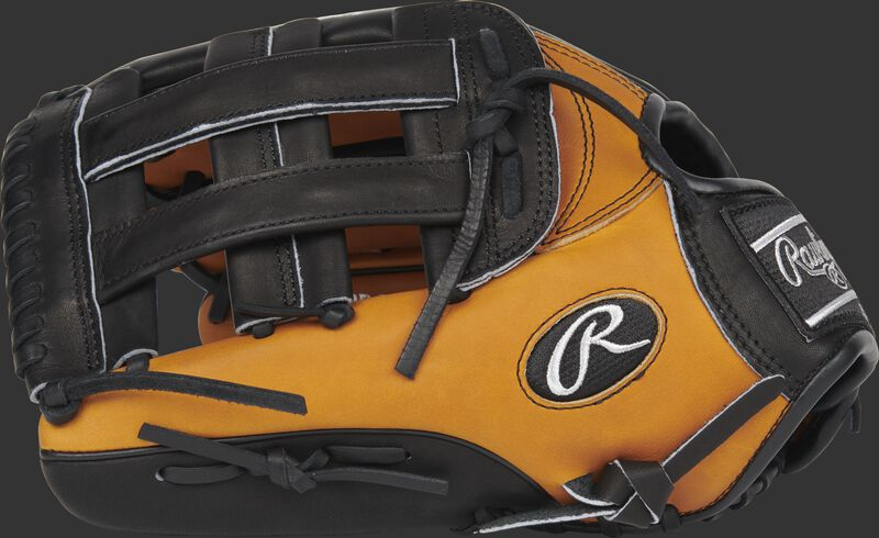 Thumb of a left hand throw 2020 Heart of the Hide Horween outfield glove with a black H-web - SKU: PRO3039-6HTB