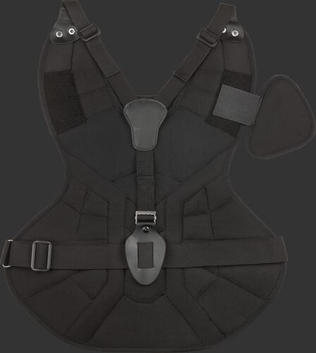 Back of a black ACACPPL Rawlings adult size Players Series chest protector