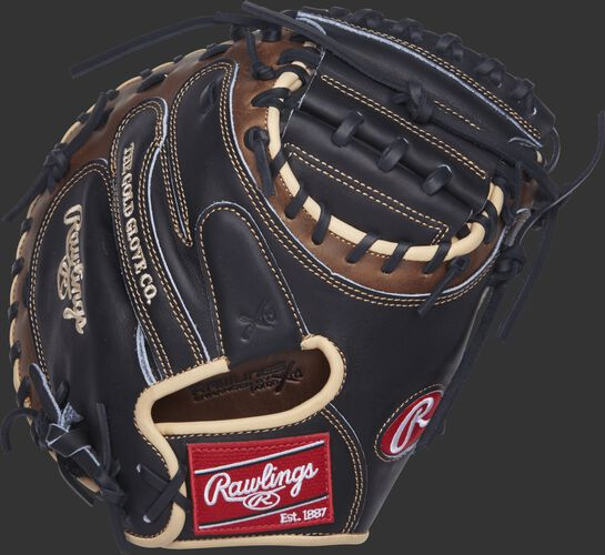 PROCM33BSL Rawlings 33-inch catcher's mitt with a black back and brown trim