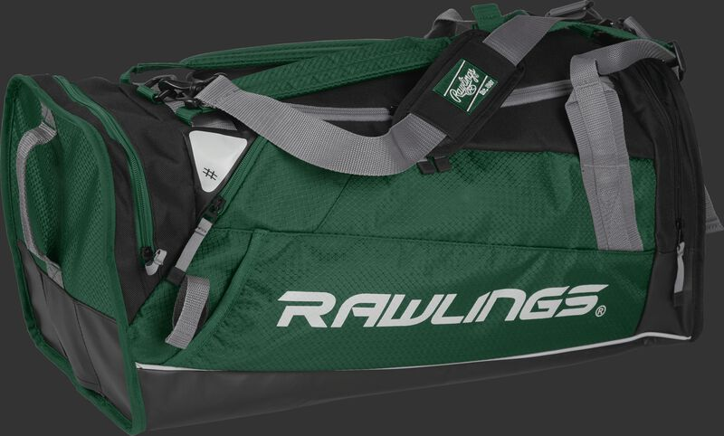 Side angle view of a dark green R601 Hybrid players bag with a Rawlings logo on the side
