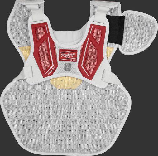 Back harness of a scarlet CMPCN Mach chest protector