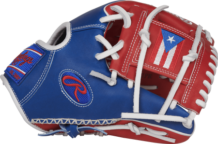 Thumb view of a PRO204W-2PR 11.5-inch Heart of the Hide infield glove with a scarlet I web featuring the Puerto Rico flag