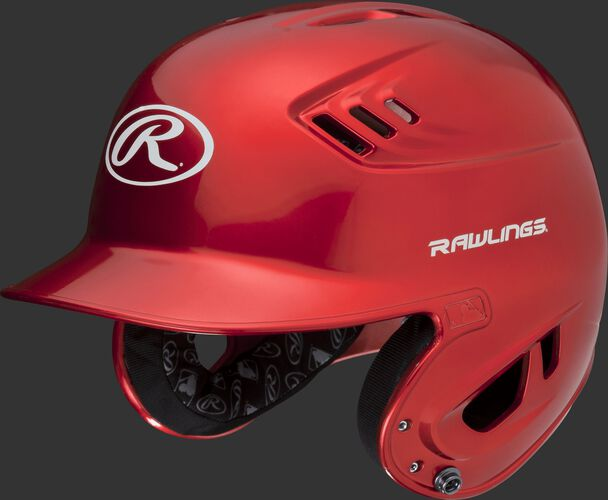 A metallic scarlet R16S Velo senior batting helmet with Cool-Flo vents