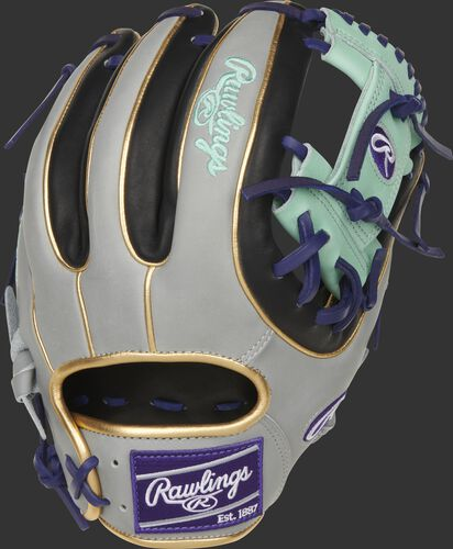 Back of a black/gray Heart of the Hide ColorSync 5.0 I-web glove with a purple Rawlings patch - SKU: PRO315-2BP